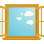 cartoon-style illustration of an open window, with a blue sky in background.